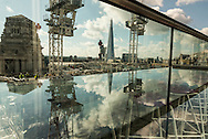 London. UK  the bar restaurant of the Hilton double tree hotel, tower of London has a panoramic view on London cityscape