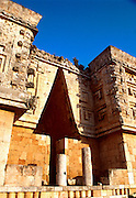 MEXICO, MAYAN, YUCATAN Uxmal; Governor's Palace with Chac