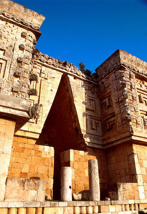 MEXICO, MAYAN, YUCATAN Uxmal; Governor's Palace with Chac