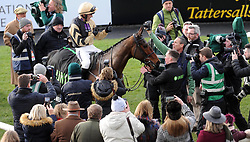 Bellshill and jockey Ruby Walsh celebrate winning the Unibet Irish Gold Cup during day two of the Dublin Racing Festival at Leopardstown Racecourse.