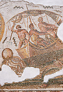 Detail from the Roman mosaic depicting Dionysus repelling pirates from his ship.  Inv 2884B Bardo Museum, Tunis, Tunisia. .<br /> <br /> If you prefer to buy from our ALAMY PHOTO LIBRARY  Collection visit : https://www.alamy.com/portfolio/paul-williams-funkystock/roman-mosaic.html - Type -   Bardo    - into the LOWER SEARCH WITHIN GALLERY box. Refine search by adding background colour, place, museum etc<br /> <br /> Visit our ROMAN MOSAIC PHOTO COLLECTIONS for more photos to download  as wall art prints https://funkystock.photoshelter.com/gallery-collection/Roman-Mosaics-Art-Pictures-Images/C0000LcfNel7FpLI