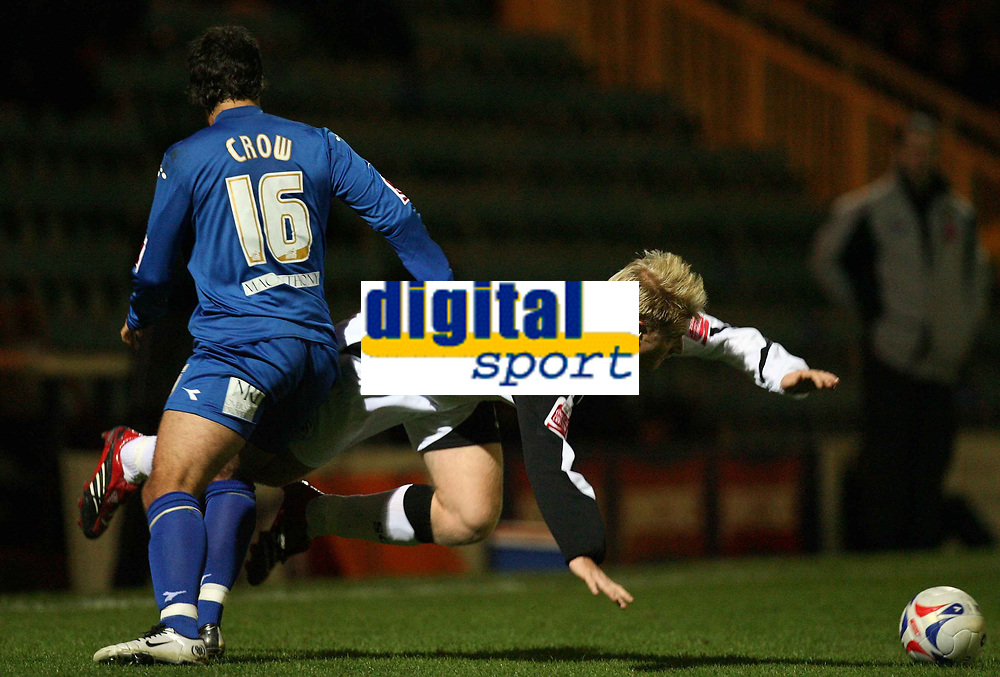 Photo: Rich Eaton.<br /> <br /> Peterborough United v Swansea City. Johnstone's Paint Trophy. 31/10/2006. Alan Tate right of Swansea is fouled by Danny Crow of Peterborough