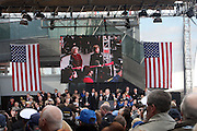 l to r: Sally Hoover Hoover Casale and Laura Bush on the jumbotron about to re-christen the Intrepid at The 2008 Veterans Day  Ceremonies at the Intrepid Sea, Air, & Space Musem on November 11, 2008 in NYC