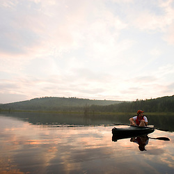 Paddling Mud Pond in Granby, Vermont.  Nurse Mountain is in the distance.  Northeast Kingdom.