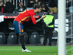 March 23, 2019 - Valencia, Valencia, Spain - Sergio Ramos of Spain celebrating a goal during European Qualifiers championship, , football match between Spain and Norway, March 23th, in Mestalla Stadium in Valencia, Spain. (Credit Image: © AFP7 via ZUMA Wire)
