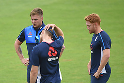 England's Jason Roy (left) and Jonny Bairstow (right) during the nets session at Cardiff Wales Stadium.