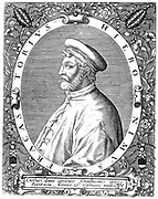 Girolamo Frascatoro (Hieronymus Fracastorius) c1478-1553. Italian physician, poet and astronomer. Germ theory of disease. Best remembered for work in rhyme describing Syphilis 'Syphilis sive morbus Gallicus' (Syphilis or the French Disease) 1530. Engraving.