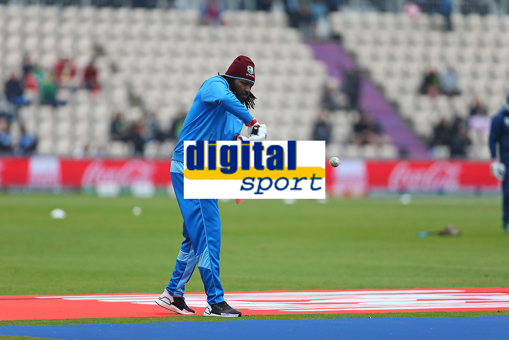 Cricket - 2019 ICC Cricket World Cup - Group Stage: South Africa vs. West Indies<br /> <br /> Chris Gayle of the West Indies during the pre match warm up at the Hampshire Bowl, Southampton.<br /> <br /> COLORSPORT/SHAUN BOGGUST