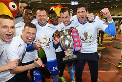 March 18, 2017 - Bruxelles, Belgique - Sammy Bossut goalkeeper of SV Zulte Waregem celebrates with the cup after winning the Croky Cup final match against KV Oostende on March 19, 2017 in Brussels, Belgium, 19/03/2017 (Credit Image: © Panoramic via ZUMA Press)