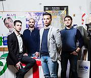 Da sinistra a destra: Alessandro Porrini (22), Giulio Maria Grisotto (25), Stefano Angei, (20) Alberto Nicola (24). Sede Lega Nord di Varese. | From left to right: Alessandro Porrini (22), Giulio Maria Grisotto (25), Stefano Angei, (20) Alberto Nicola (24). Lega Nord party headquarters in Varese.