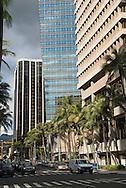 View down Bishop St., Downtown Honolulu, Oahu, Hawaii