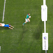 Tommy Bowe, Ireland, races away for a try which was disallowed during the Ireland V Italy Pool C match during the IRB Rugby World Cup tournament. Otago Stadium, Dunedin, New Zealand, 2nd October 2011. Photo Tim Clayton...