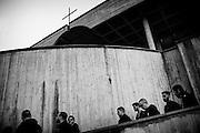 Militanti di casapound al sit-in di solidarieta' non autorizzato per il pestaggio di un pensionato nel quartiere Serpentara-Fidene,. Roma 14 Novembre 2014.  Christian Mantuano / OneShot