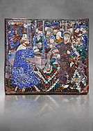 Enamelled plaque depicting Christ in front of Pilate made in Limoges at the end of the 15th century, attributed to Master Pseudo-Monvaerni. inv 6309, The Louvre Museum, Paris. .<br /> <br /> If you prefer you can also buy from our ALAMY PHOTO LIBRARY  Collection visit : https://www.alamy.com/portfolio/paul-williams-funkystock/limoges-enamel-antiquities.html Type -     louvre     - into the LOWER SEARCH WITHIN GALLERY box. <br /> <br /> Visit our MEDIEVAL ART PHOTO COLLECTIONS for more   photos  to download or buy as prints https://funkystock.photoshelter.com/gallery-collection/Medieval-Gothic-Art-Antiquities-Historic-Sites-Pictures-Images-of/C0000gZ8POl_DCqE