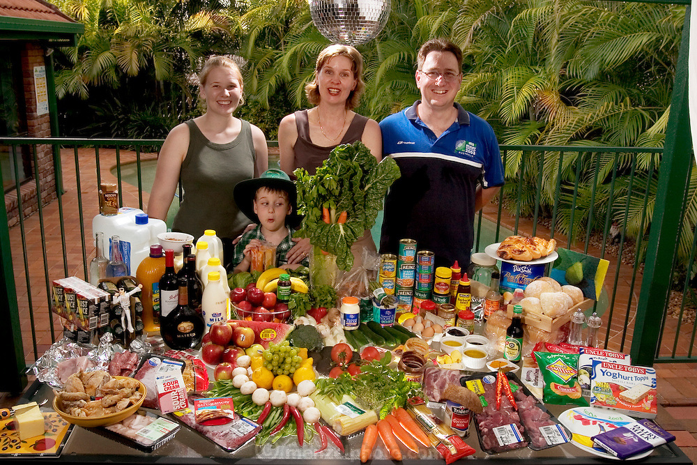 The Molloy family: John, 43, Natalie, 41, Emily, 15 (called Em), and Sean, 5, in Brisbane, on Australia's east coast, with one week's worth of food, in January. From the book Hungry Planet: What the World Eats (Model Released)