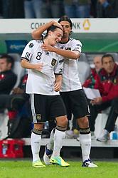 11.10.2011, Esprit Arena, Duesseldorf, GER, UEFA EURO 2012 Qualifikation, Deutschland (GER) vs Belgien (BEL), im Bild Jubel Mesut Özil / Oezil (#8 GER, Real Madrid) und Sami Khedira (#6 GER, Real Madrid) nach dem 1 - 0 durch Mesut Özil / Oezil (#8 GER, Real Madrid) // during the UEFA Euro 2012 qualifying round Germany vs Belgium  at Esprit Arena, Duesseldorf 2011-10-11 EXPA Pictures © 2011, PhotoCredit: EXPA/ nph/  Kurth       ****** out of GER / CRO  / BEL ******