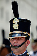 A senior cadet in formal dress uniform during the Long Grey Line graduation parade May 8, 2009 at the Citadel in Charleston, SC. This graduating marks the 10-year anniversary of the first female to graduate from The Citadel, Nancy Mace.  The Citadel was founded in 1842.