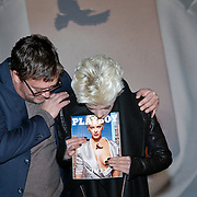 NLD/Amsterdam/20111207- Onthuling Playboy Stacey Rookhuizen, Jan Heemskerk onthult samen met Stacey Rookhuizen de cover van de kersteditie