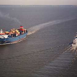 Aerial view of Container ship and NOAA Little Hales