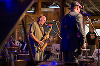 Tom Hoctor and Brian James of the Brickyard Blues on stage during Sunday's Monster Ball at Pitman's Freight Room in Laconia.  (Karen Bobotas/for the Laconia Daily Sun)