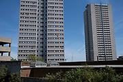 Union Jack flag being flown from the window of a tower block in the city centre during the Coronavirus lockdown on 20th May 2020 in Birmingham, England, United Kingdom. Coronavirus or Covid-19 is a new respiratory illness that has not previously been seen in humans. While much or Europe has been placed into lockdown, the UK government has put in place more stringent rules as part of their long term strategy, and in particular social distancing.