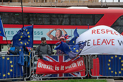 Protesters outside the UK Houses of Parliament in London ahead of the second so-called significant vote in House of Commons on Theresa May's revised EU Withdrawal (Brexit) Agreement. Photo date: Tuesday, March 12, 2019. Photo credit should read: Richard Gray/EMPICS