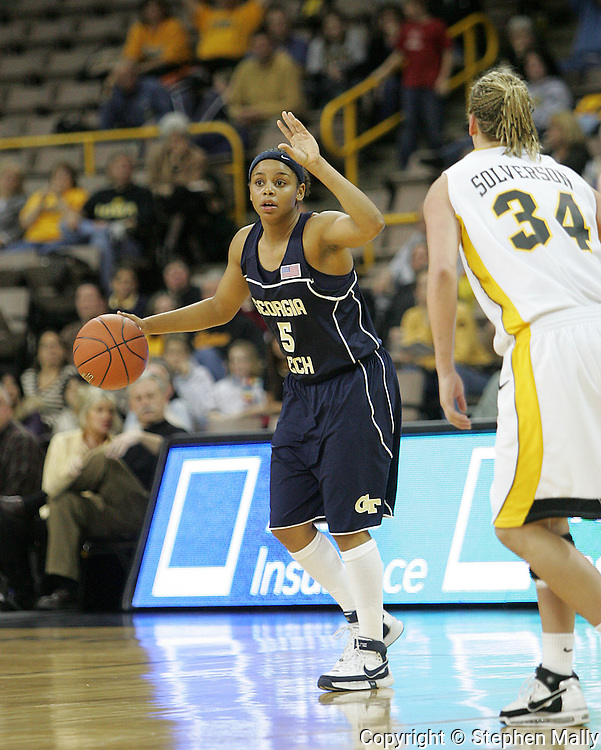 28 NOVEMBER 2007: Georgia Tech guard Jill Ingram (5) signals to her team in the second half of Georgia Tech's 76-57 win over Iowa in the Big Ten/ACC Challenge at Carver-Hawkeye Arena in Iowa City, Iowa on November 28, 2007.