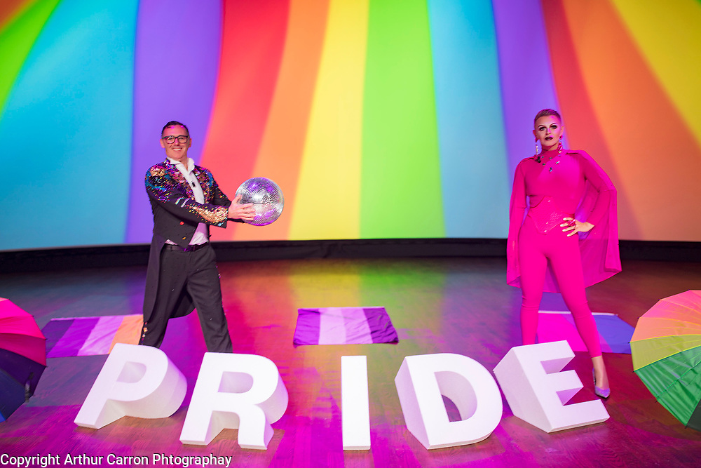 27/6/20 Paul Ryder and Eddie McGuinness hosting the Dublin LGBTQ Pride Virtual Parade at the Mansion House in Dublin. Picture: Arthur Carron