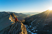 Jake Hirschi hiking into the North Face of Mt. Borah, Lost River Range, Idaho
