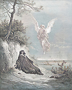 Machine Colourized (AI) Elijah Nourished by an Angel 1 Kings 19:5-6 From the book 'Bible Gallery' Illustrated by Gustave Dore with Memoir of Dore and Descriptive Letter-press by Talbot W. Chambers D.D. Published by Cassell & Company Limited in London and simultaneously by Mame in Tours, France in 1866