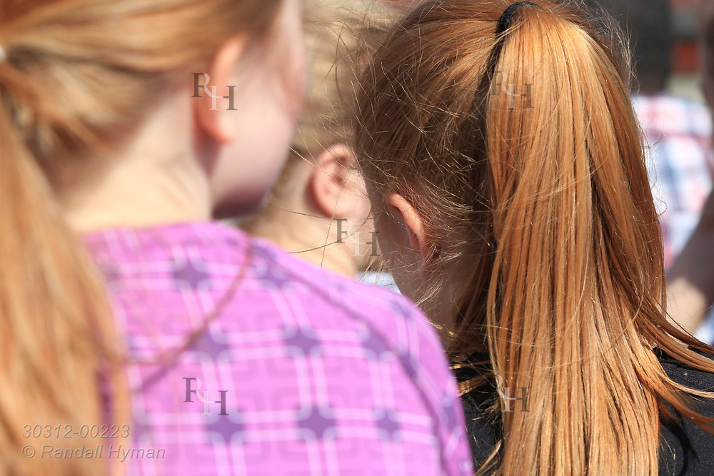 Red-haired girls at May 17th Constitution Day celebration of nation's independence in Kirkenes, Norway.