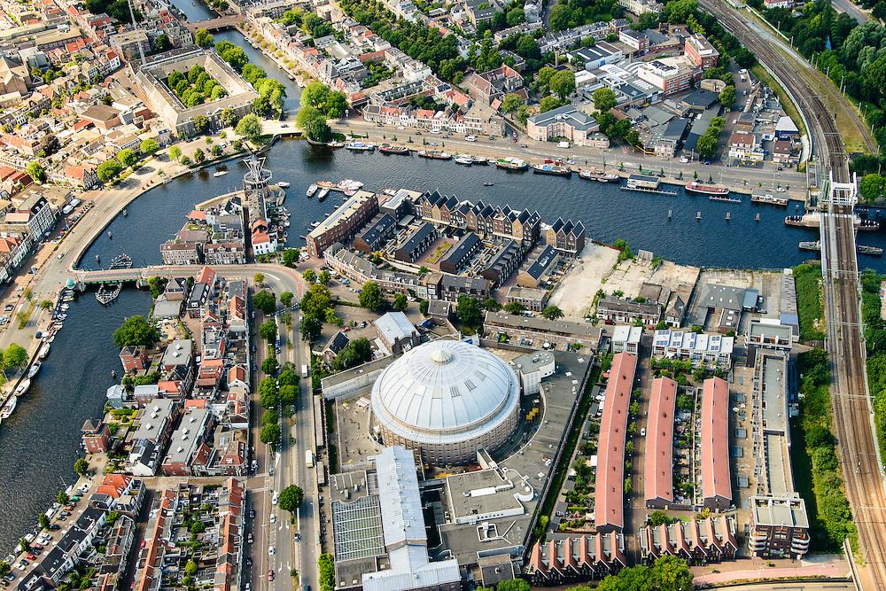 Nederland, Noord-Holland, Haarlem, 01-08-2016; centrum Haarlem, met Kopelgevangenis, Spaarne, Papentorenvest met Molen De Adriaan. Zicht op Nieuwe Gracht.<br /> City centre Haarlem.<br /> luchtfoto (toeslag op standard tarieven);<br /> aerial photo (additional fee required);<br /> copyright foto/photo Siebe Swart