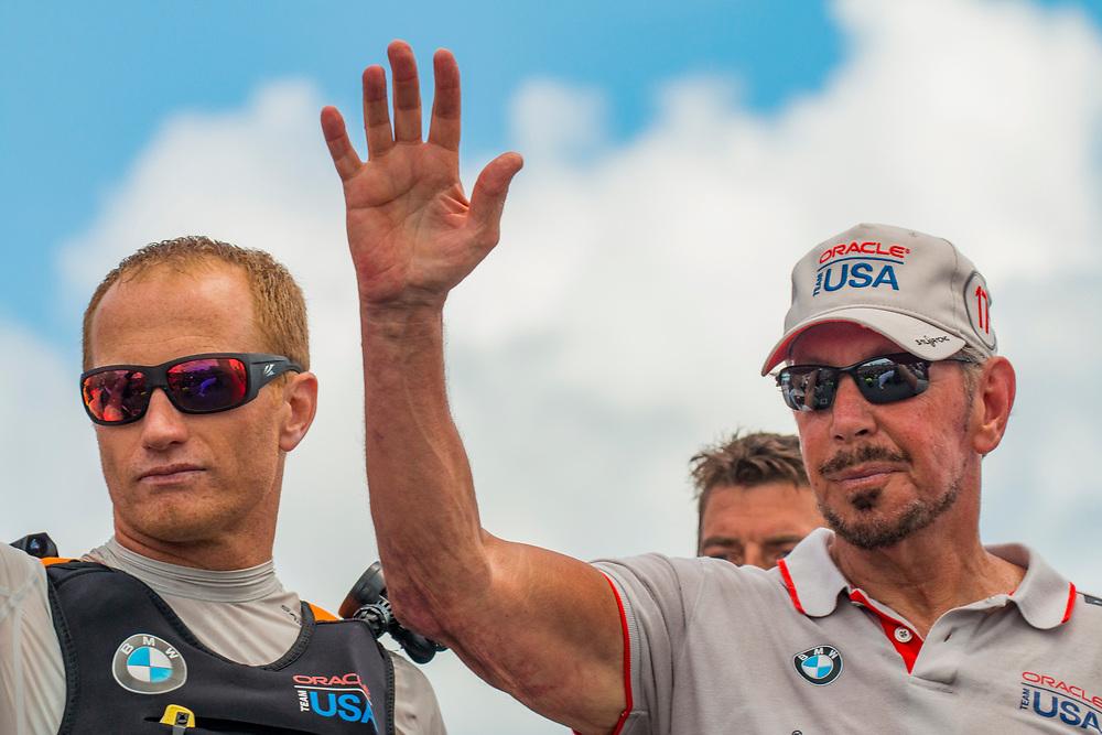 Larry Ellison<br /> Oracle  Team USA<br /> Jimmy Spithill, helmsman Oracle Team USA<br /> <br /> Day  5<br /> 2017 35th America's Cup Bermuda