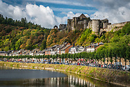 "Bouillon, Luxembourg, Belgium, August 2018. Built on three rock pitons overlooking the Semois river, the Bouillon Castle is a remarkable monument in the province of Luxembourg. This fortified building, which is said to date back to the 8th century, was made famous by Godfrey of Bouillon, leader of the first crusade (1096), also known as the ""Baron of the Holy Sepulchre"" and the ""Crusader King. Photo by Frits Meyst / MeystPhoto.com"
