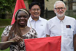 London, UK. 20th July, 2021. Former Labour Party leader Jeremy Corbyn poses outside Parliament with Unite members before a march to 10 Downing Street by NHS workers from the grassroots NHSPay15 campaign to present a petition signed by over 800,000 people calling for a 15% pay rise for NHS workers. At the time of presentation of the petition, the government was believed to be preparing to offer NHS workers a 3% pay rise in 'recognition of the unique impact of the pandemic on the NHS'.