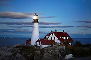 The Benevolent Sentinel, The Portland Head Light At Night, Portland Maine