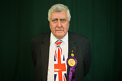© Licensed to London News Pictures . 25/09/2015 . Doncaster , UK . UKIP supporter JOHN PEGLER (72 from Wiltshire) at the 2015 UKIP Conference at Doncaster Racecourse . Photo credit : Joel Goodman/LNP