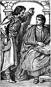 Waldenses (Valdenses, Vaudois, Valdesi) Christian sect originating in 12th century France. Devotees followed Christ in simplicity and poverty. Persecuted by Rome. Waldenses missionaryroubador showing his vernacular Bible to a trusted visitor, c1170. 19th century engraving.