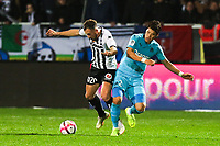 Hiroki Sakai of Marseille and Flavien Tait of Angers during the Ligue 1 match between Angers and Marseille at Stade Jean Bouin on December 22, 2018 in Angers, France. (Photo by Eddy Lemaistre/Icon Sport)