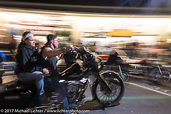 With Lakeside Avenue in Weirs Beach closed to car traffic during the rally, everyone loves riding through there on the last night of Laconia Motorcycle Week, New Hampshire, USA. Saturday June 17, 2017. Photography ©2017 Michael Lichter.
