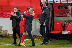 LEUVEN, BELGIUM - Sunday, November 15, 2020: Belgium's Dries Mertens (L) celebrates after scoring the second goal with head coach Roberto Martínez during the UEFA Nations League Group Stage League A Group 2 match between England and Belgium at Den Dreef. (Pic by Jeroen Meuwsen/Orange Pictures via Propaganda)