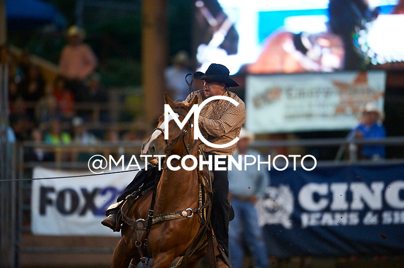 Team roper Jesse Sheffield of Delta, CO competes at the Pikes Peak or Bust Rodeo in Colorado Springs, CO.<br /> <br /> <br /> UNEDITED LOW-RES PREVIEW<br /> <br /> <br /> File shown may be an unedited low resolution version used as a proof only. All prints are 100% guaranteed for quality. Sizes 8x10+ come with a version for personal social media. I am currently not selling downloads for commercial/brand use.