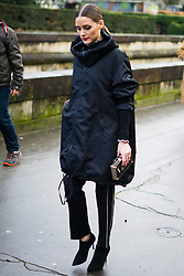 Olivia Palermo, wearing black Valentino coat and black pants, is seen in the streets of Paris before the Valentino show during Paris Fashion Week Womenswear Fall/Winter 2018/2019 on March 4, 2018 in Paris, France. (Photo by Nataliya Petrova/NurPhoto/Sipa USA)