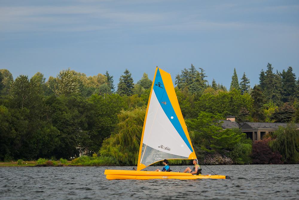 United States, Washington, Bellevue. Sailboat on Lake Washington. Editorial Use Only.
