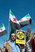 August 29th 2013. Members of the Syrian community in London demonstrate in front of the Houses of Parliament demanding intervention by the West following UN reports of the use of chemical weapons by the Assad regime. London, UK.