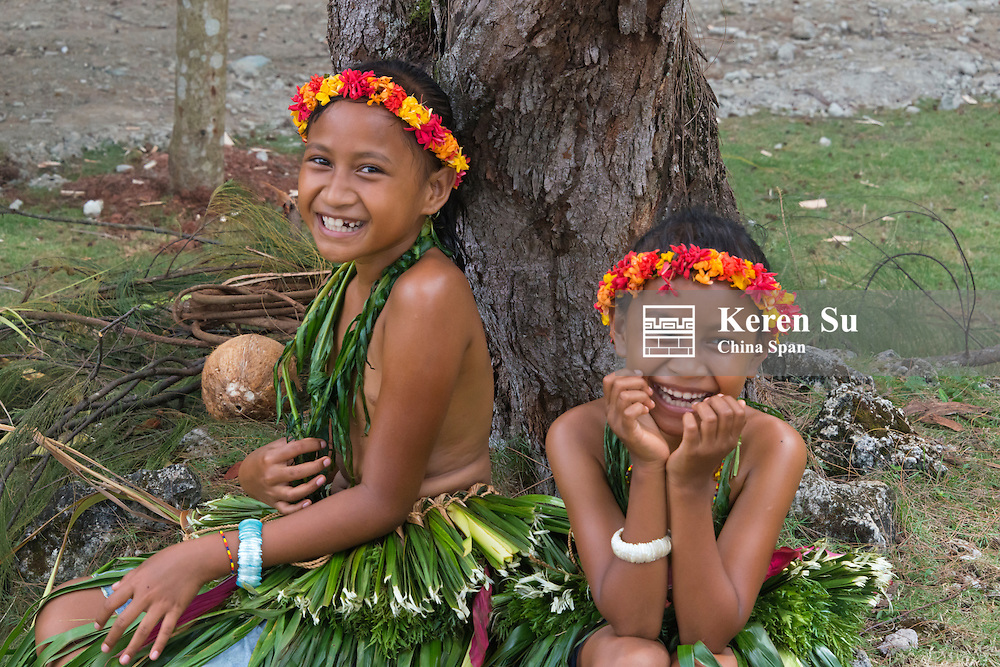 Yapese girls in traditional clothing at Yap Day Festival, Yap Island, Federated States of Micronesia