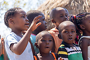 a group of children at a Tonga fishing village on Lake Kariba, Zimbabwe