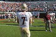 Oct 2, 2010; Charlottesville, VA, USA; Florida State Seminoles quarterback Christian Ponder (7) walks off the field after defeating the Virginia Cavaliers 34-14  at Scott Stadium.  Mandatory Credit: Andrew Shurtleff-