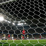 Arsenal's Olivier Giroud (C) celebrates his penalty goal against Fenerbahce during the UEFA Champions League Play-Offs First leg soccer match Fenerbahce between Arsenal at Sukru Saracaoglu stadium in Istanbul Turkey on Wednesday 21 August 2013. Photo by Aykut AKICI/TURKPIX