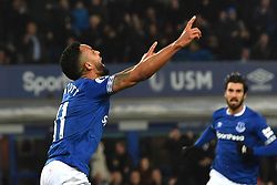 December 23, 2018 - Liverpool, Liverpool, United Kingdom - Everton's Theo Walcott celebrates scoring his side's first goal of the game during the Premier League match at Goodison Park, Liverpool, UK.  Everton v Tottenham Hotspur - Premier League - Goodison Park. Goodison Park. (Credit Image: © Anthony Devlin/i-Images via ZUMA Press)